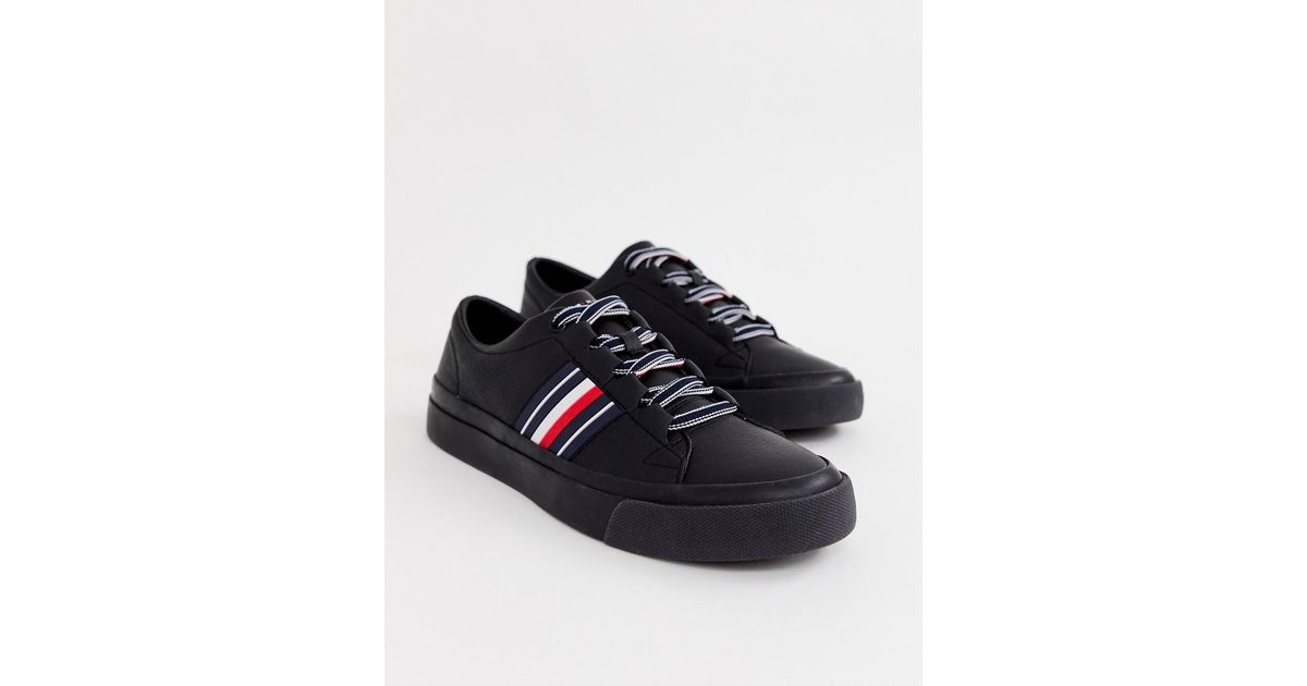 2868b9e0a0b2 Lyst - Tommy Hilfiger Corporate Stripe Leather Low Trainer In Black in  Black for Men