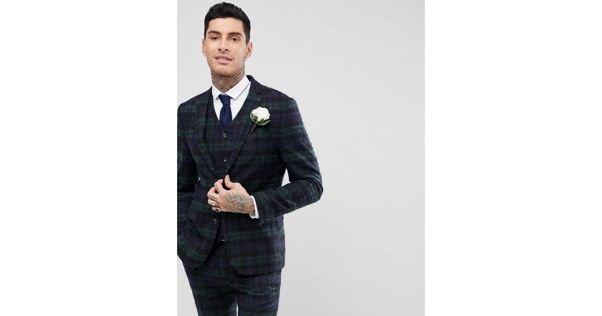 fa8d37ea58d9 ASOS Asos Wedding Slim Suit Jacket With Mohair In Lochcarron Blackwatch  Tartan in Green for Men - Lyst