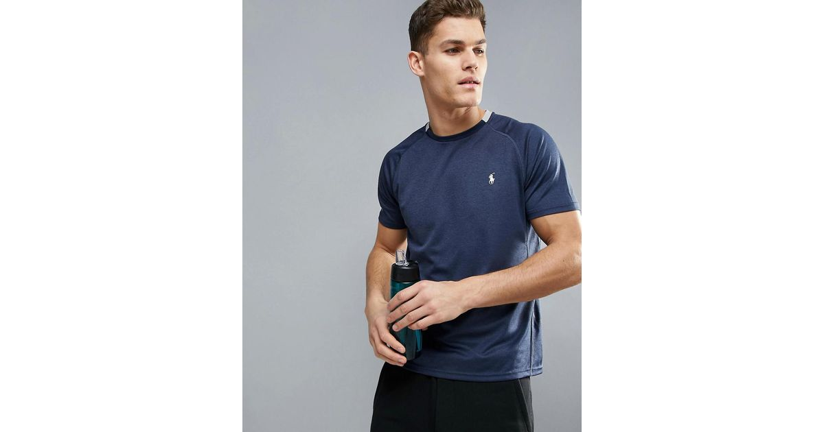 25dc689ed Polo Ralph Lauren Microdot Running T-shirt Quick Dry In Navy Marl in Blue  for Men - Lyst