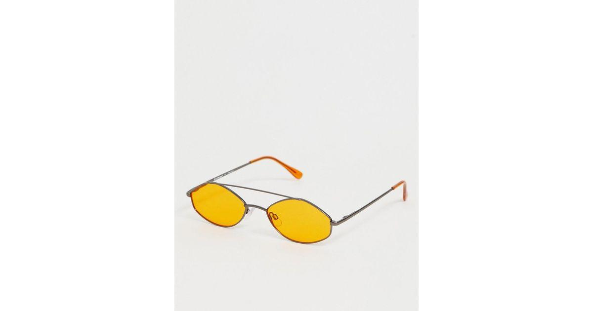 62904bc3a0 Gafas de sol redondas en gris metlico y naranja de A.J. Morgan de hombre de  color Amarillo - Lyst
