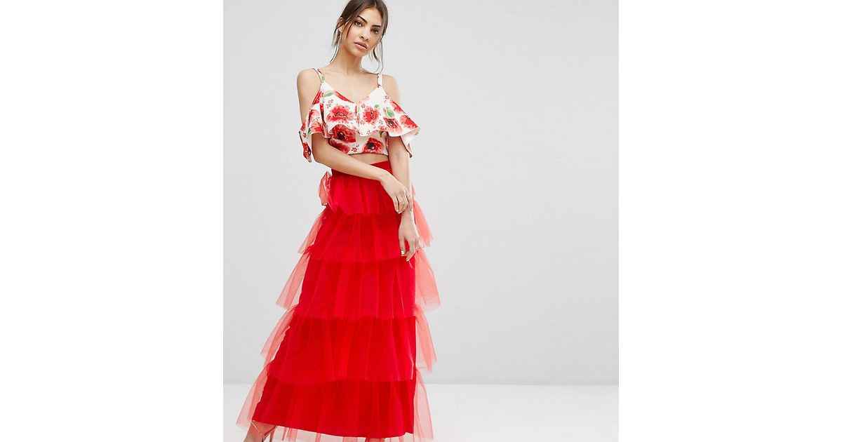 16a9bbeebc True Violet Tiered Tulle Maxi Skirt in Red - Lyst
