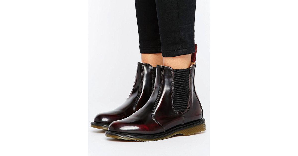 lyst dr martens kensington flora burgundy chelsea boots in red. Black Bedroom Furniture Sets. Home Design Ideas