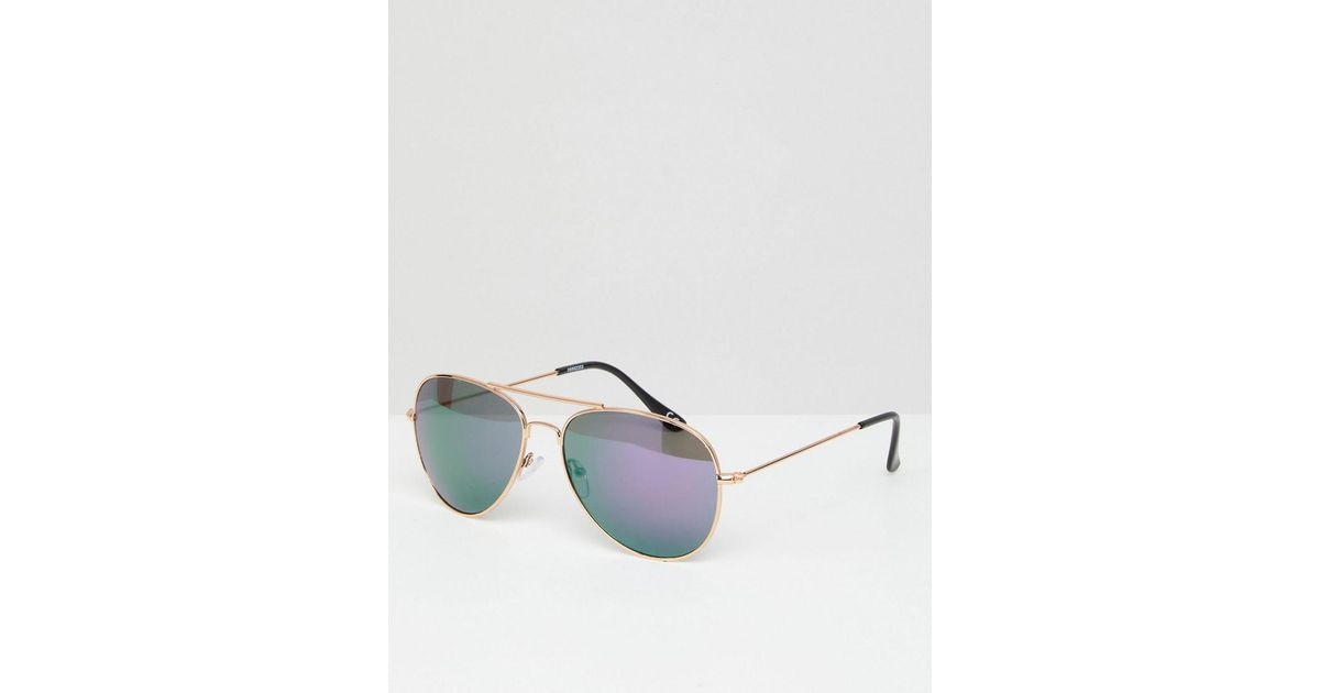 edf579e4b ASOS Aviator Sunglasses In Gold Frame With Colored Mirrored Lens in  Metallic for Men - Lyst