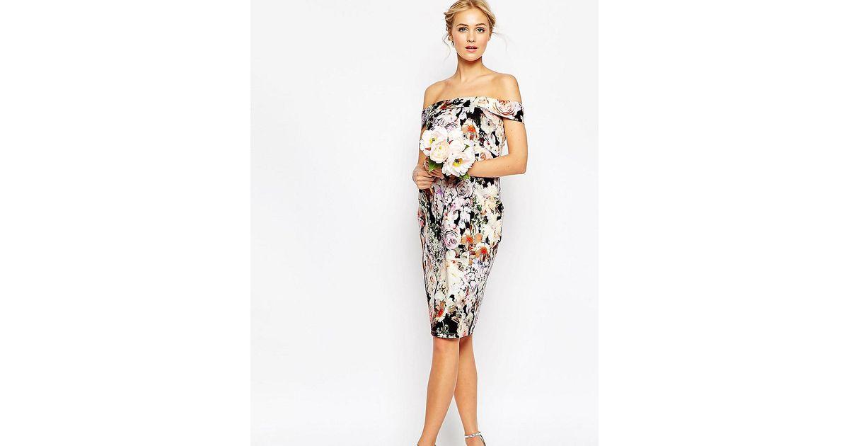 45db885bc1cb Lyst - ASOS Wedding Bardot Floral Off Shoulder Pencil Dress in Black