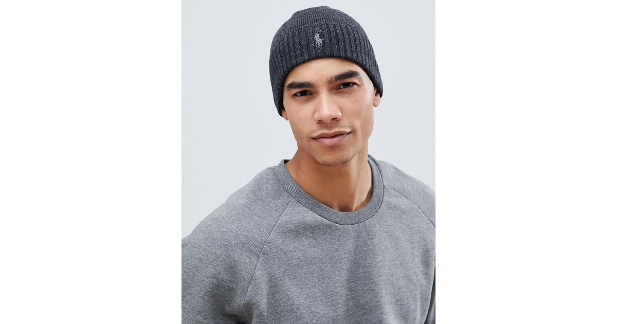 f3c1e702ddb Polo Ralph Lauren Player Logo Merino Wool Rib Beanie In Charcoal Marl in  Gray for Men - Lyst