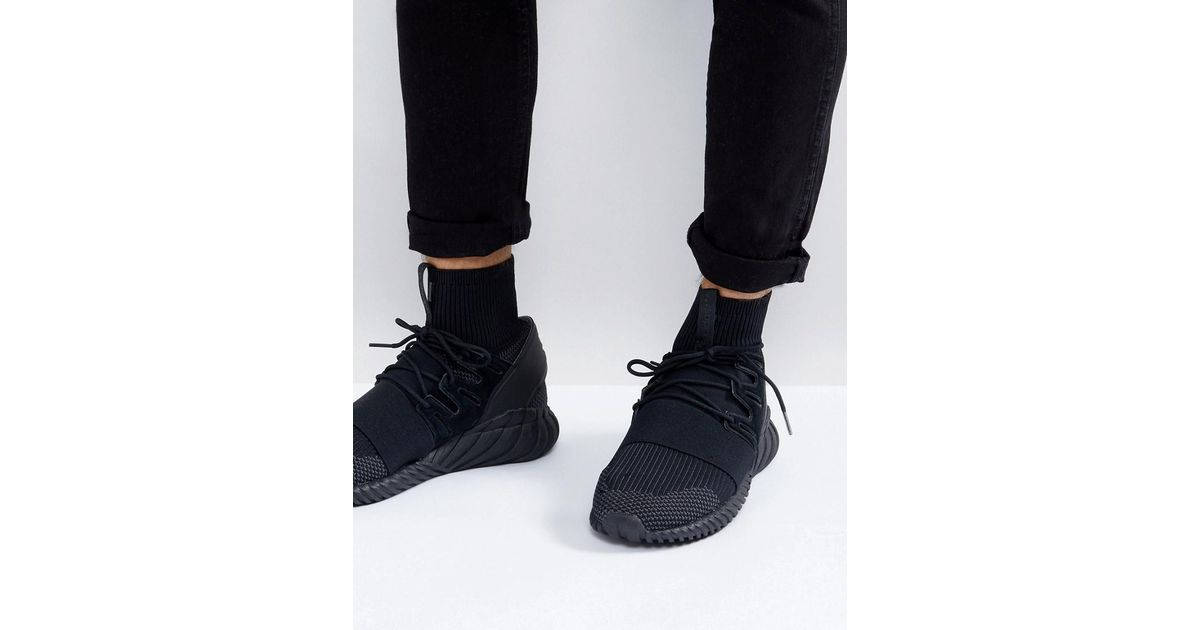 Tubular Doom Primeknit Trainers In Black DA9023 - Black adidas Originals bdvnCs