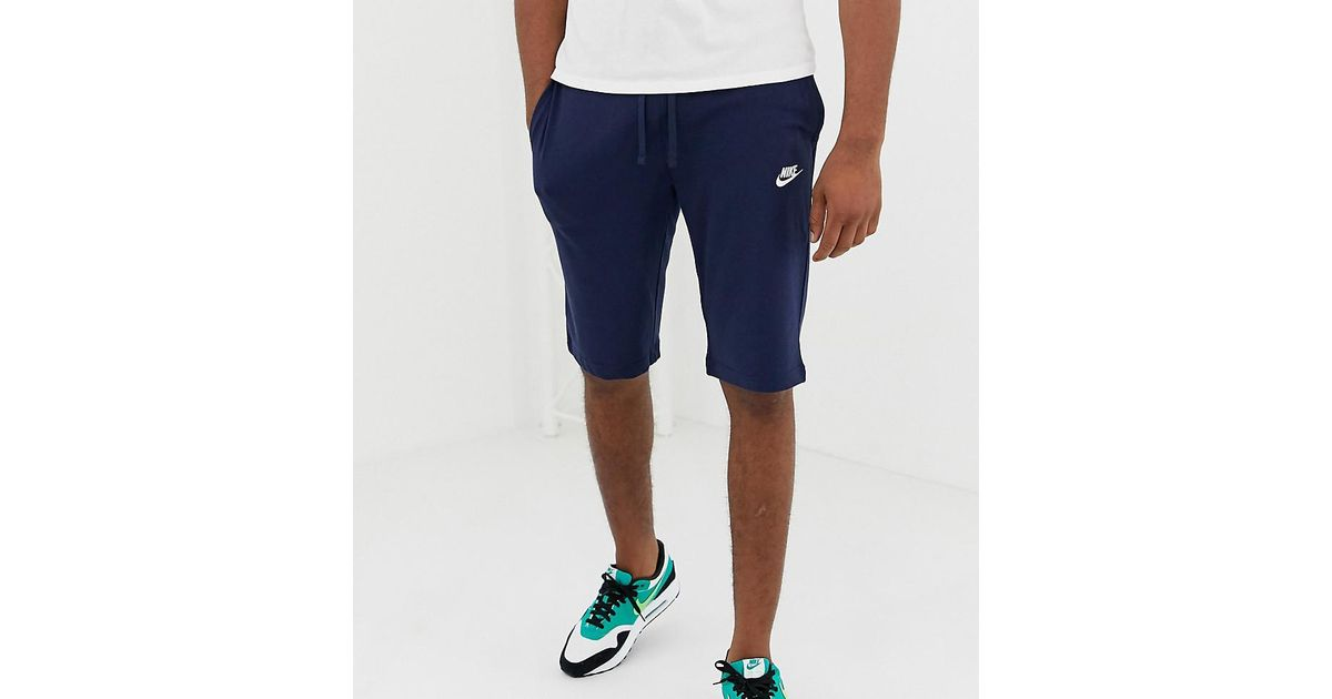 8325b47d32 Nike Tall Club Swoosh Jersey Shorts In Navy 804419-451 in Blue for Men -  Lyst