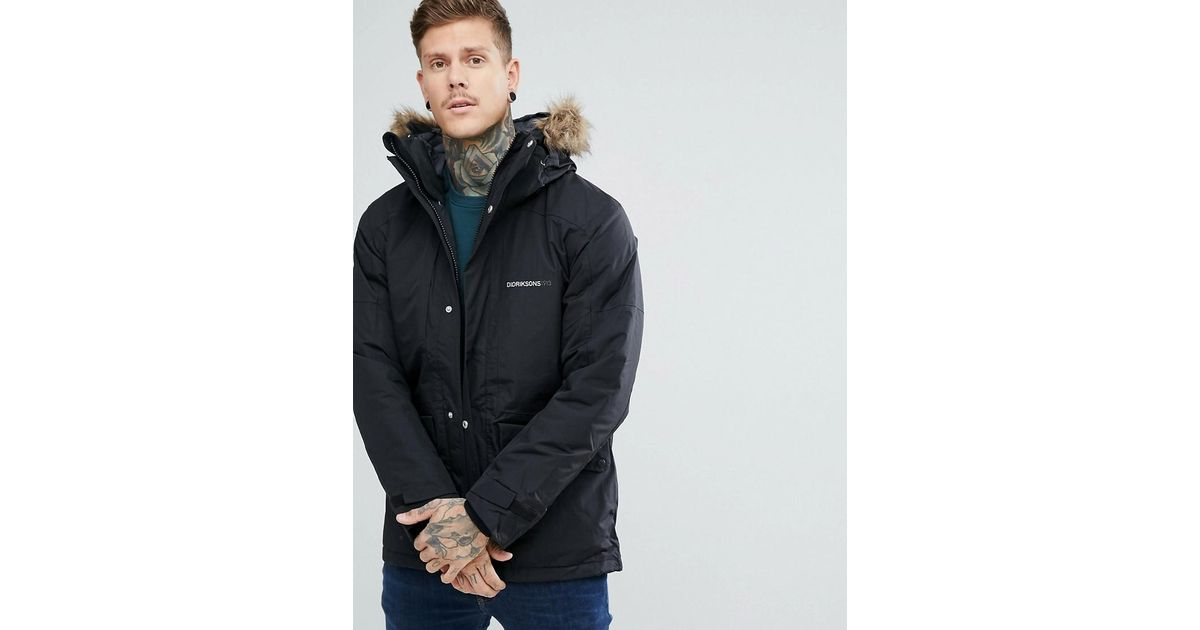 b0d8737e Didriksons 1913 Marc Parka In Black With Faux Fur Collar In Black in Black  for Men - Lyst