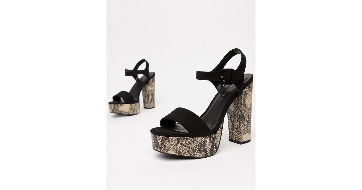 20a7b46a0a5a Lyst - New Look Square Toe Snake Platform Heeled Sandal