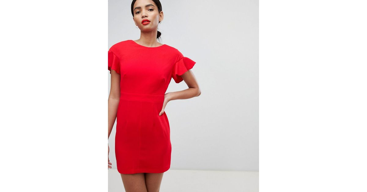 81d0edeb48e ASOS Mini Wiggle Dress With Fluted Sleeve in Red - Lyst