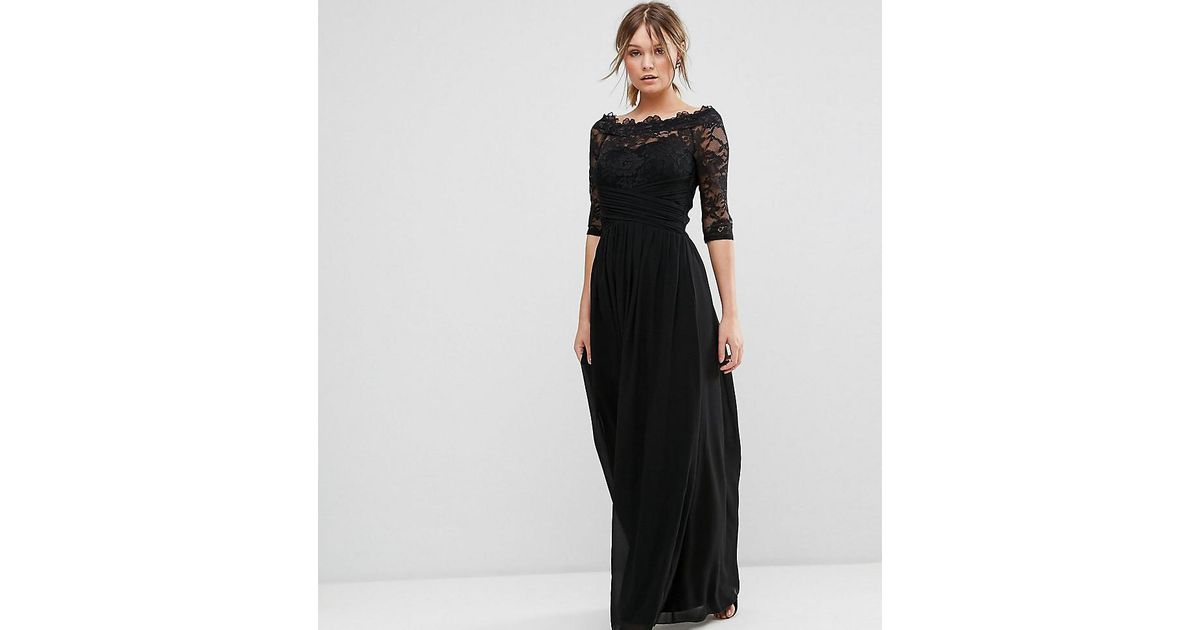 4e4fb33b4c1 Little Mistress Lace Bardot Chiffon Maxi Dress in Black - Lyst