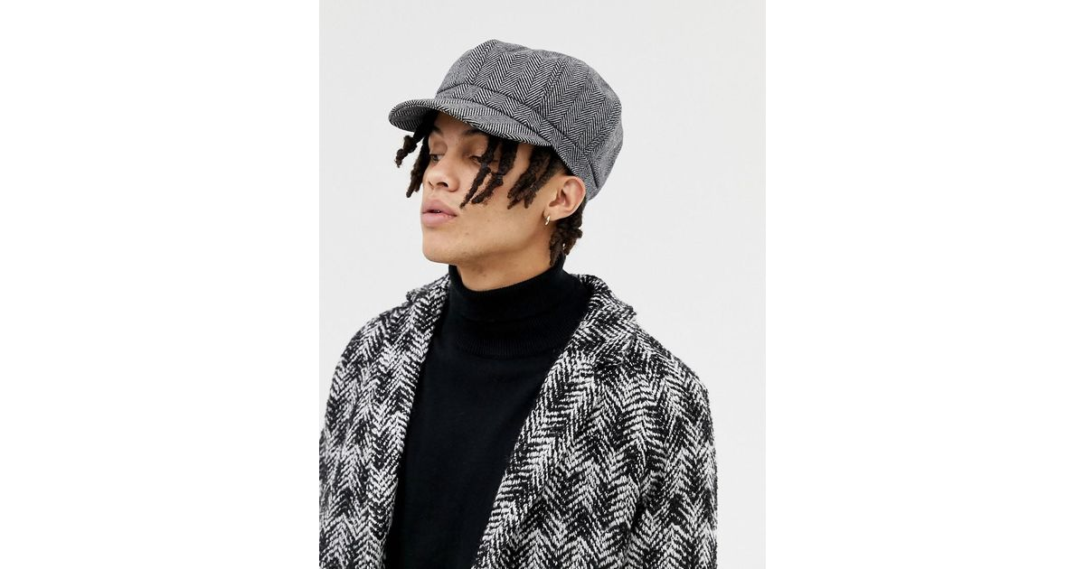 db50fa9a2a089 Lyst - ASOS Baker Boy Hat In Oversized Black Herringbone in Black for Men