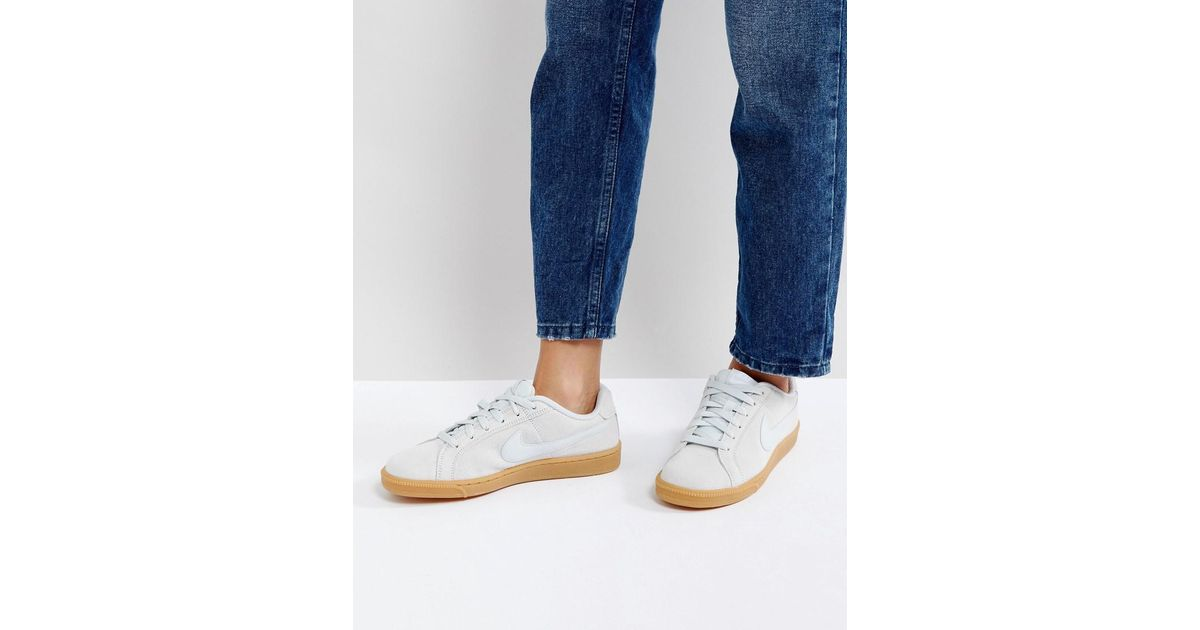 low priced 094ee 41223 Nike Court Royale Trainers In Silver Suede in Metallic - Lyst