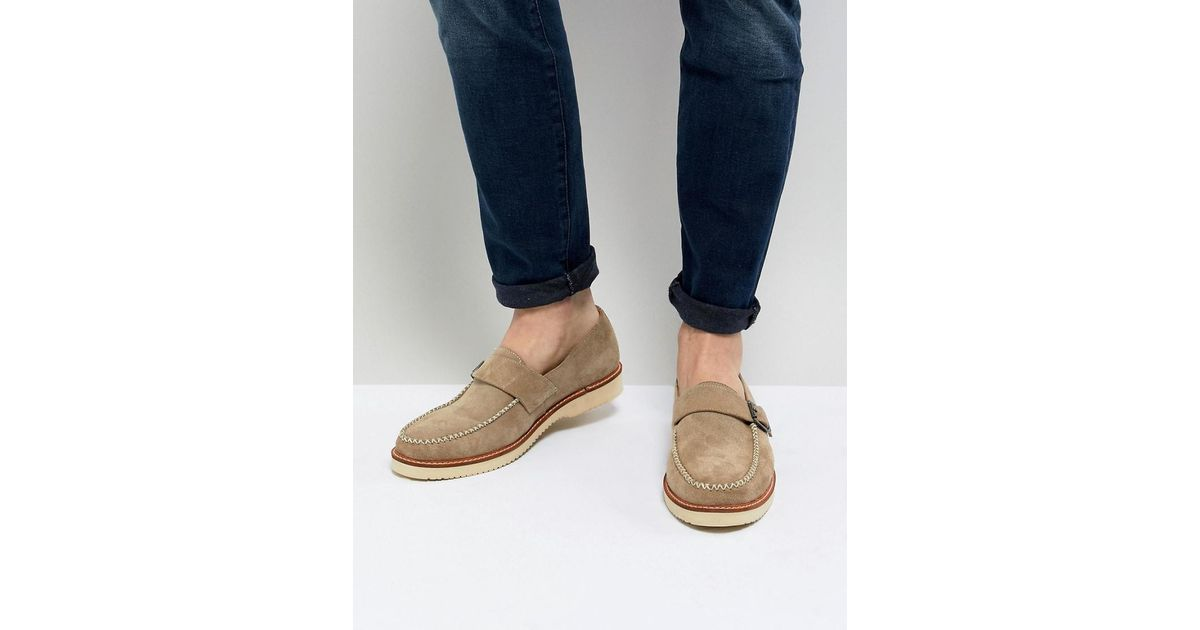 Ramone Suede Monk Shoes With Chunky Sole - Beige Farah Evf3yDlq7t