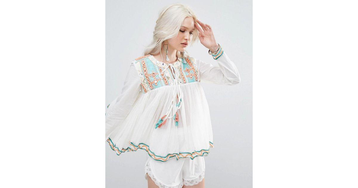 Lyst raga coastland tassle blouse in blue for Coastland mall jewelry stores