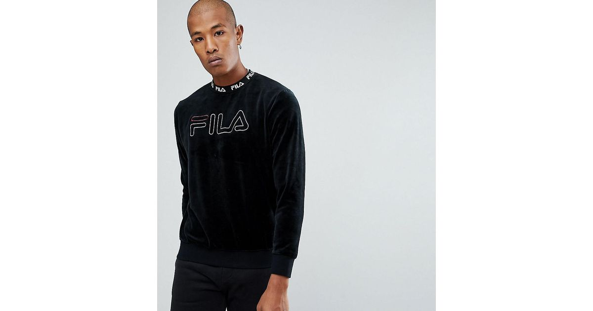 dab3915efd3 Lyst - Fila Black Line Velour Sweatshirt With Embroidered Logo in Black for  Men