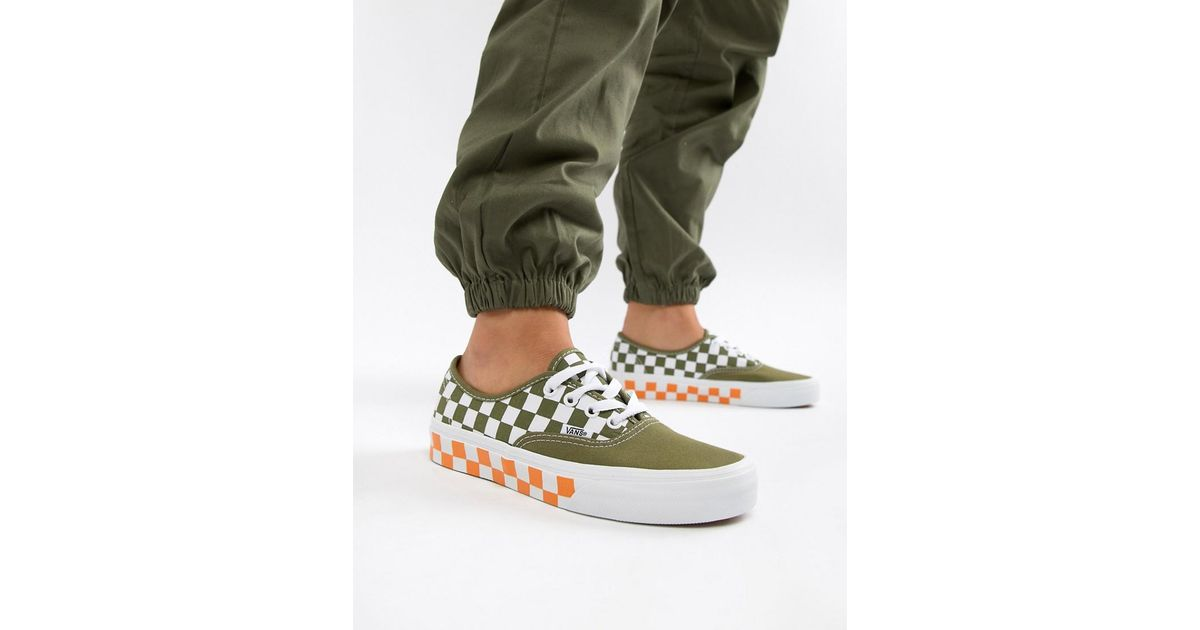 Exclusive Exclusive Exclusive Orange Orange Orange Orange Khaki Authentic Trainers Vans Checkerboard Mix And 4v7wq7Oxn