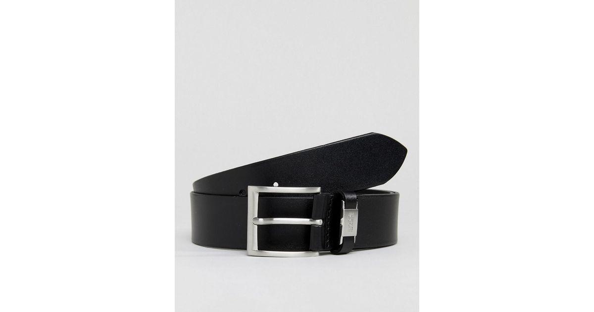 6ef81f605 BOSS Connio Leather Logo Keeper Belt In Black in Black for Men - Lyst