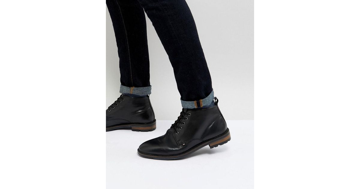 3810015a671 Ben Sherman - Military Lace Up Ankle Boots In Black Leather for Men - Lyst