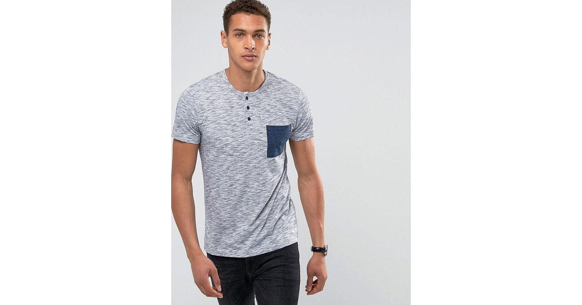 501666aa Lyst - Esprit T-shirt With Henley Neck And Marl Contrast Pocket in Blue for  Men