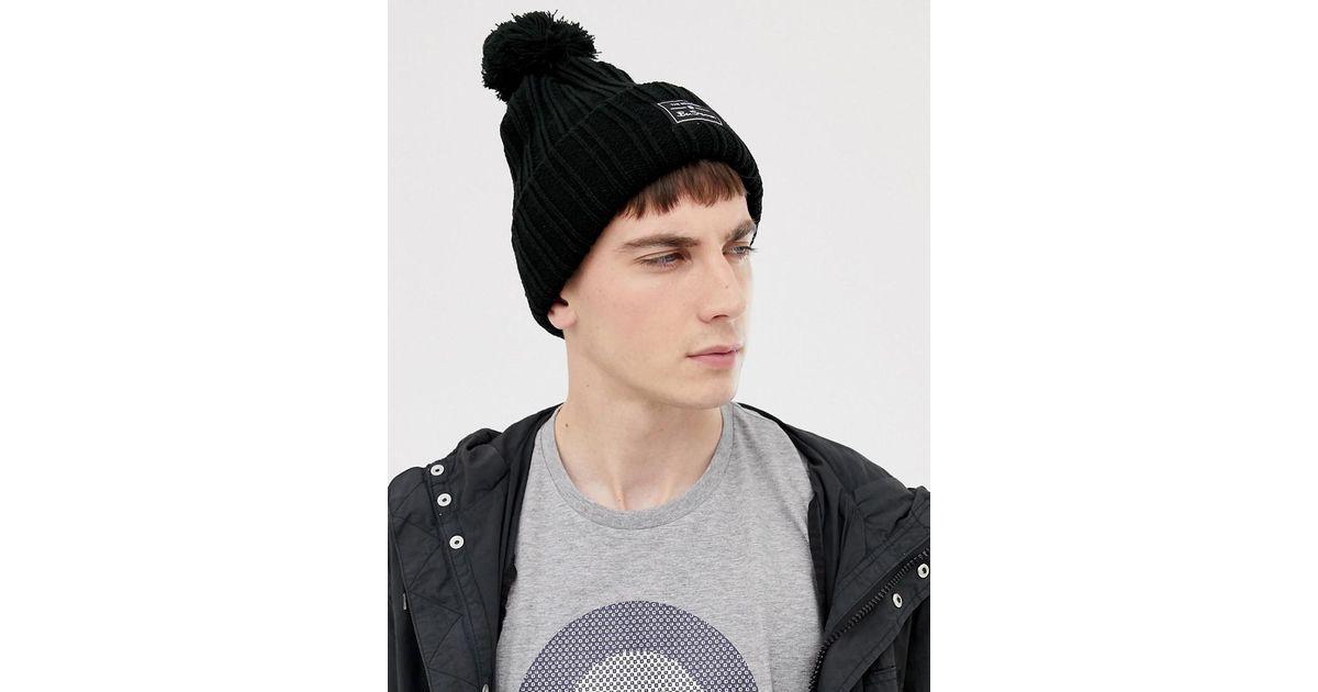 4d3009996b2 Ben Sherman Mccree Bobble Hat in Black for Men - Lyst