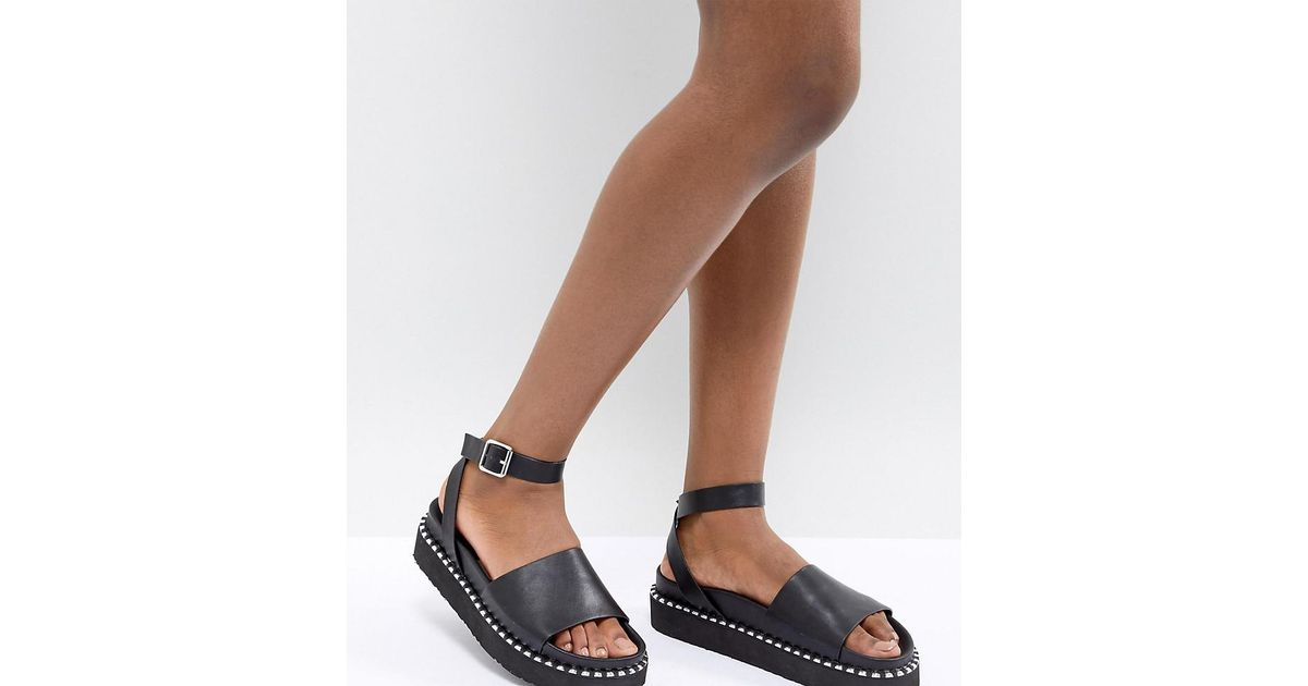 b2cfeb80e3e4 ASOS Design Febe Chunky Studded Sandals in Black - Lyst