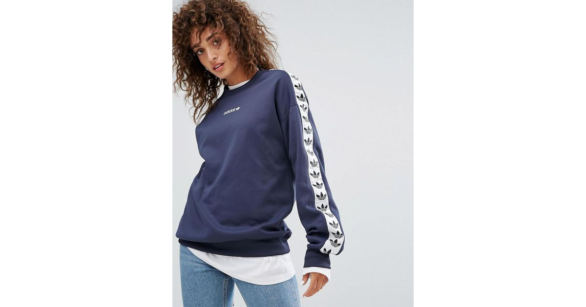 Lyst - adidas Originals Tnt Taped Side Stripe Crew Neck Sweat In Navy Blue  in Blue 9cb3476a26