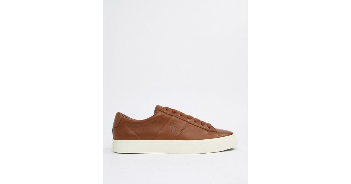 9b3817ea8b2 Polo Ralph Lauren Sayer Leather Trainers Embossed Logo In Tan in Brown for  Men - Lyst