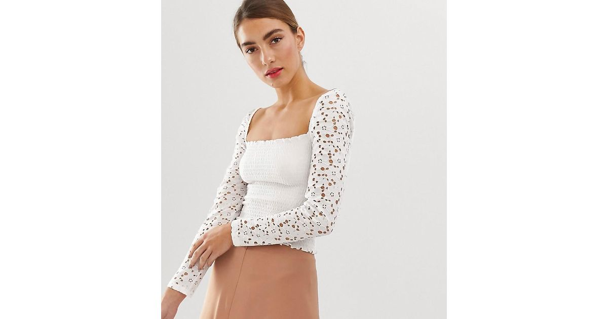 df79aea114c88 Stradivarius Shirred Square Neck Top With Lace Sleeves In White in White -  Lyst