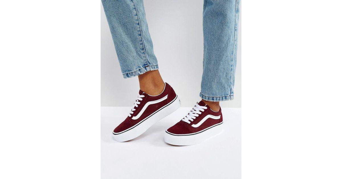 afed62495f Vans Old Skool Platform Sneakers In Burgundy in Red - Lyst