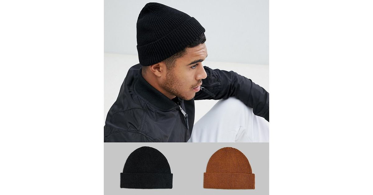 f78ee41e08c Lyst - ASOS 2 Pack Fisherman Beanie In Black   Tobacco Save in Black for Men
