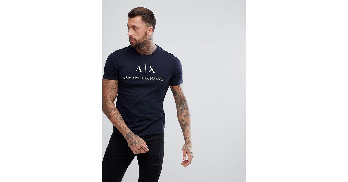 Slim Ax Shirt T Chest Armani Exchange Lyst Fit Logo Navy In IpZqawxP