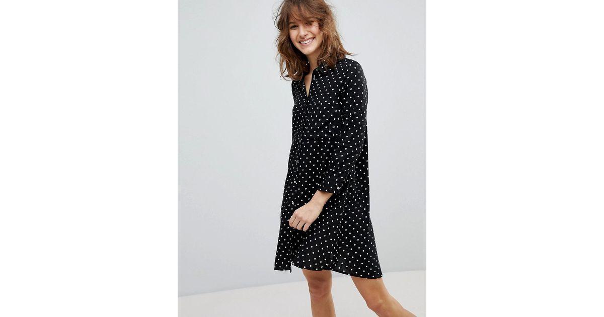 85deb723f22 Stradivarius Polka Dot Shirt Dress in Black - Lyst