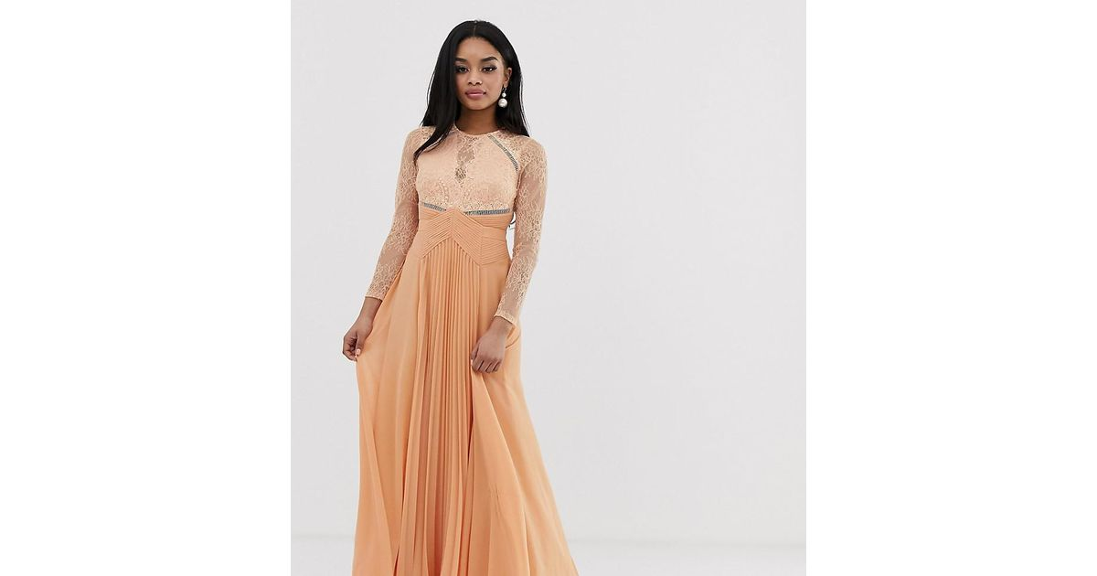 0a5a107d05d3 ASOS Asos Design Petite Long Sleeve Lace Paneled Pleat Maxi Dress in Brown  - Lyst