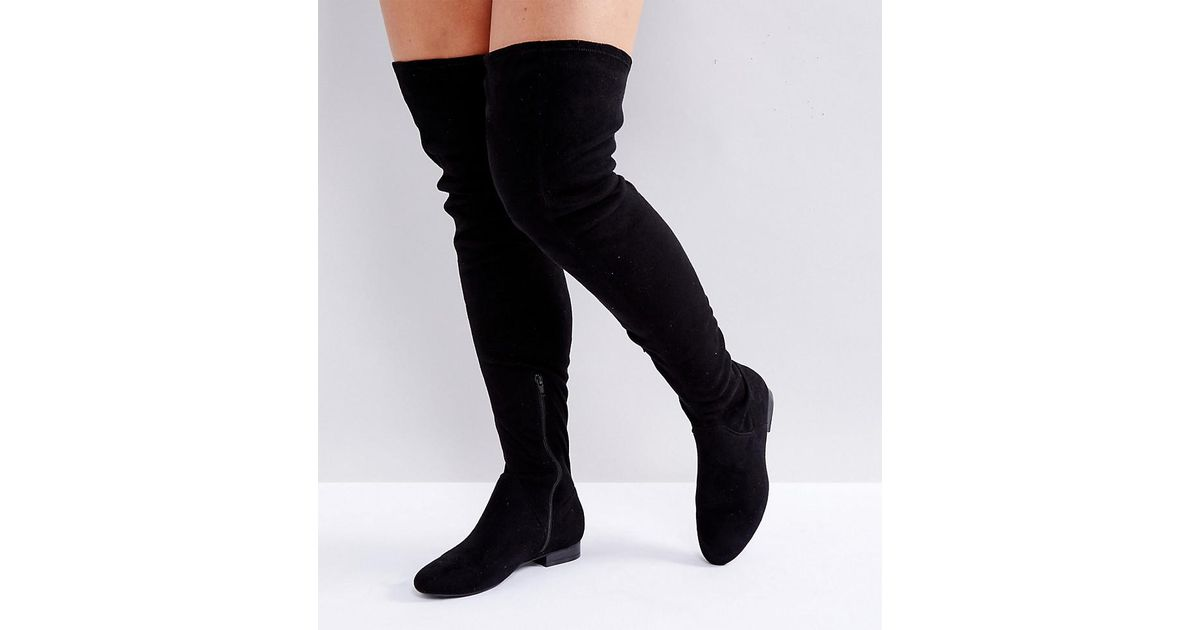 d08a62d4cc26 ASOS Asos Kasba Wide Fit Flat Over The Knee Boots in Black - Lyst