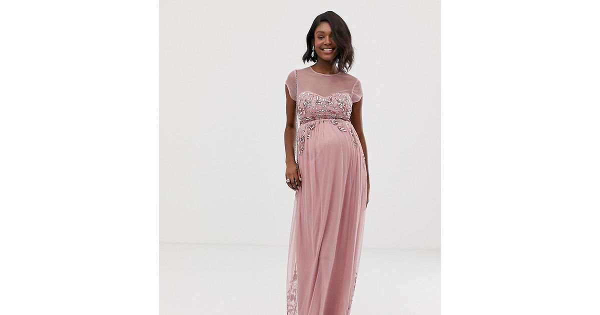 5facdcd995b Maya Maternity All Over Premium Embellished Mesh Cap Sleeve Maxi Dress In  Vintage Rose in Pink - Lyst