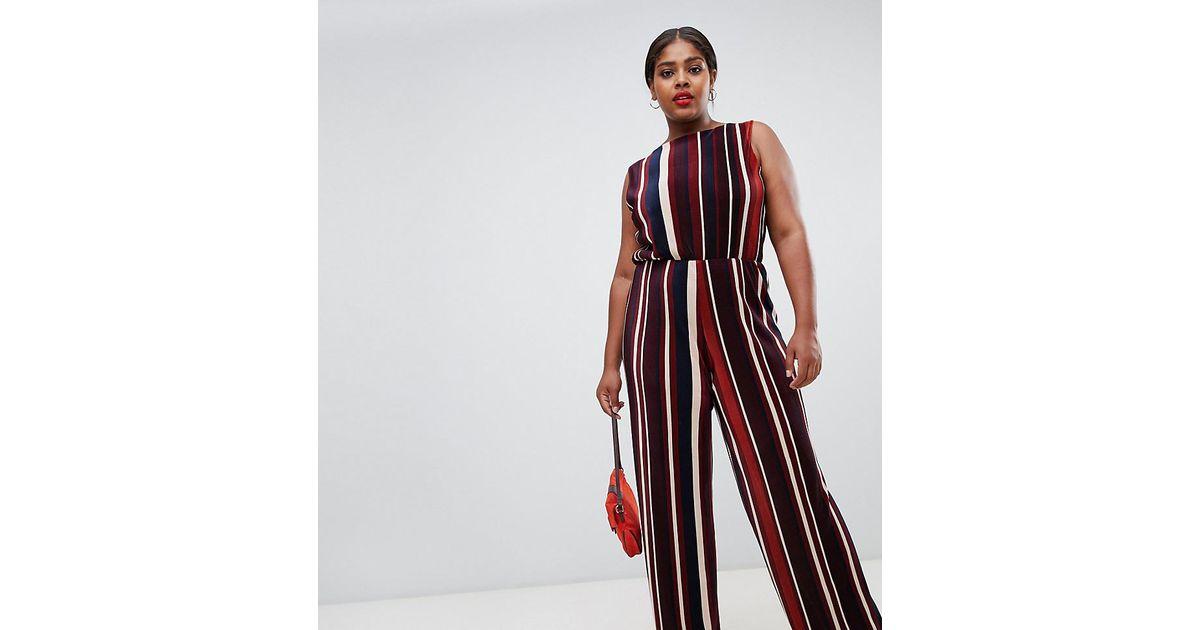 fc8234d3c99 John Zack Plisse Wide Leg Jumpsuit In Contrast Stripe Print in Red - Lyst