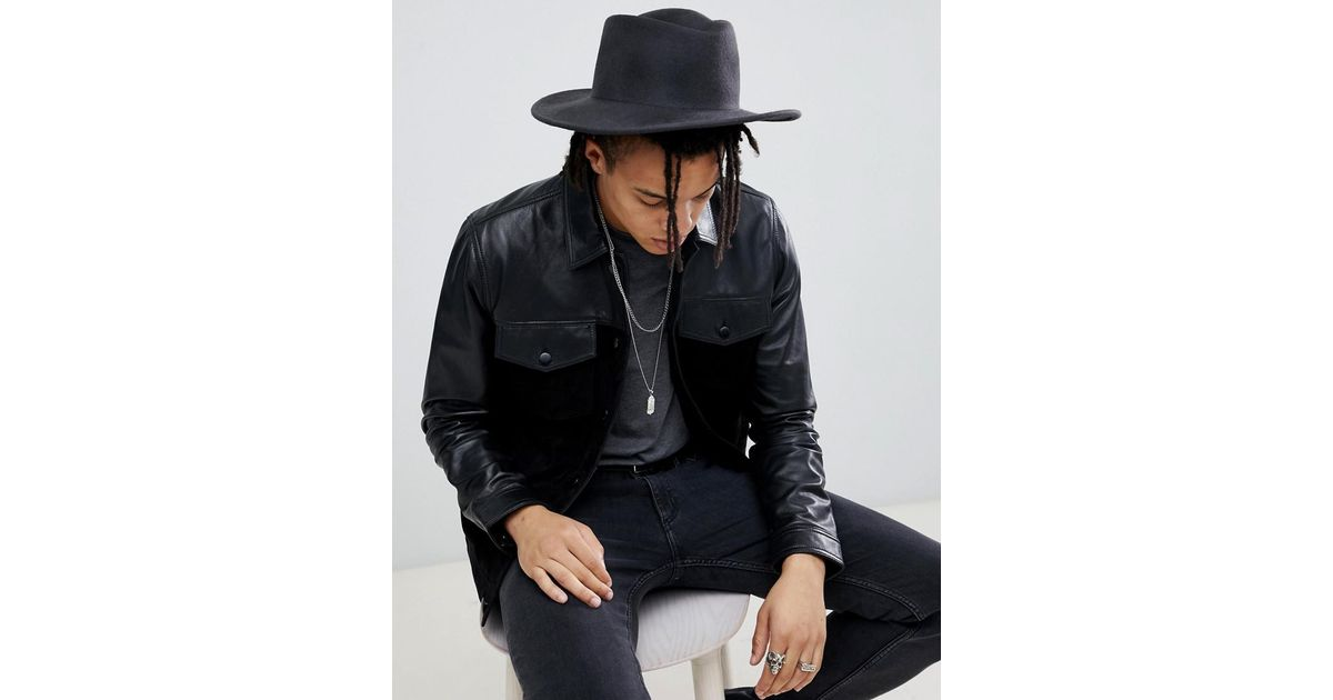 735203b3405 Asos Wide Brim Pork Pie Hat In Black With Distressing in Gray for Men - Lyst