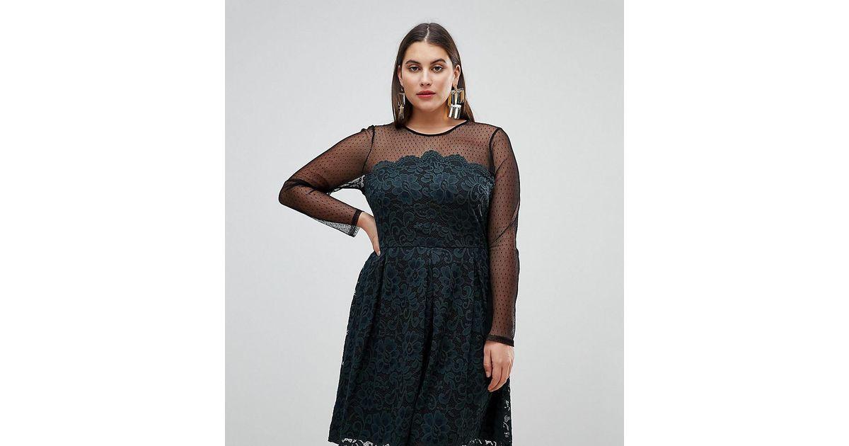 55bfdeecfecd Lyst - ASOS Lace   Dobby Mini Skater Dress in Black