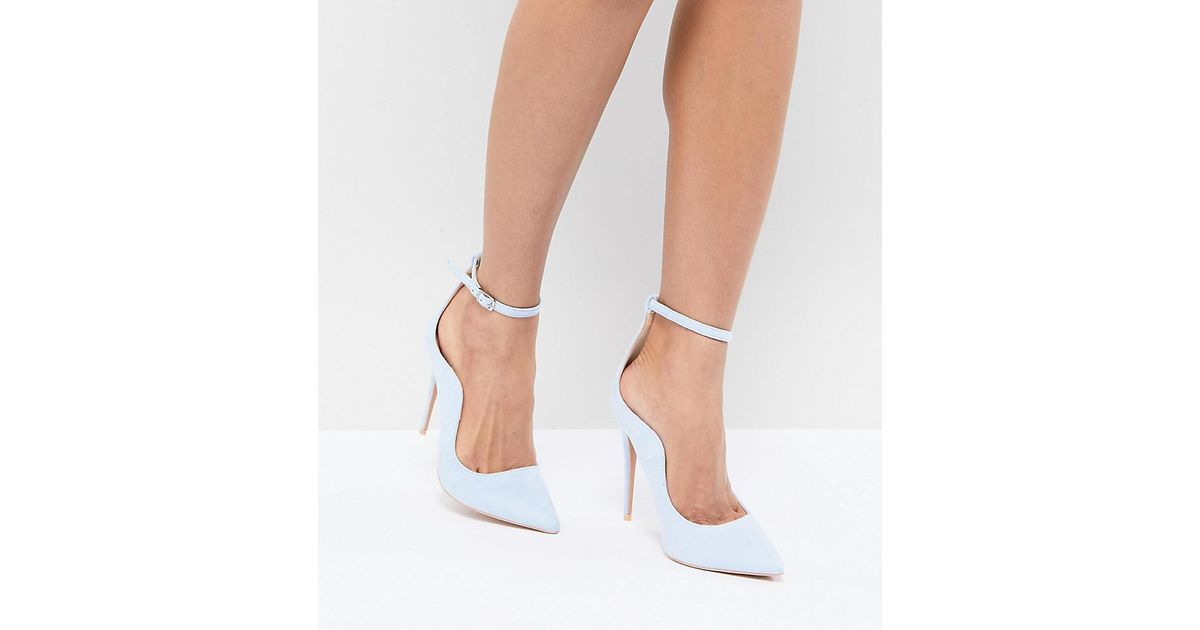 ca83fa6c432 Lyst - Lost Ink Pale Blue Ankle Strap Court Shoes in Blue
