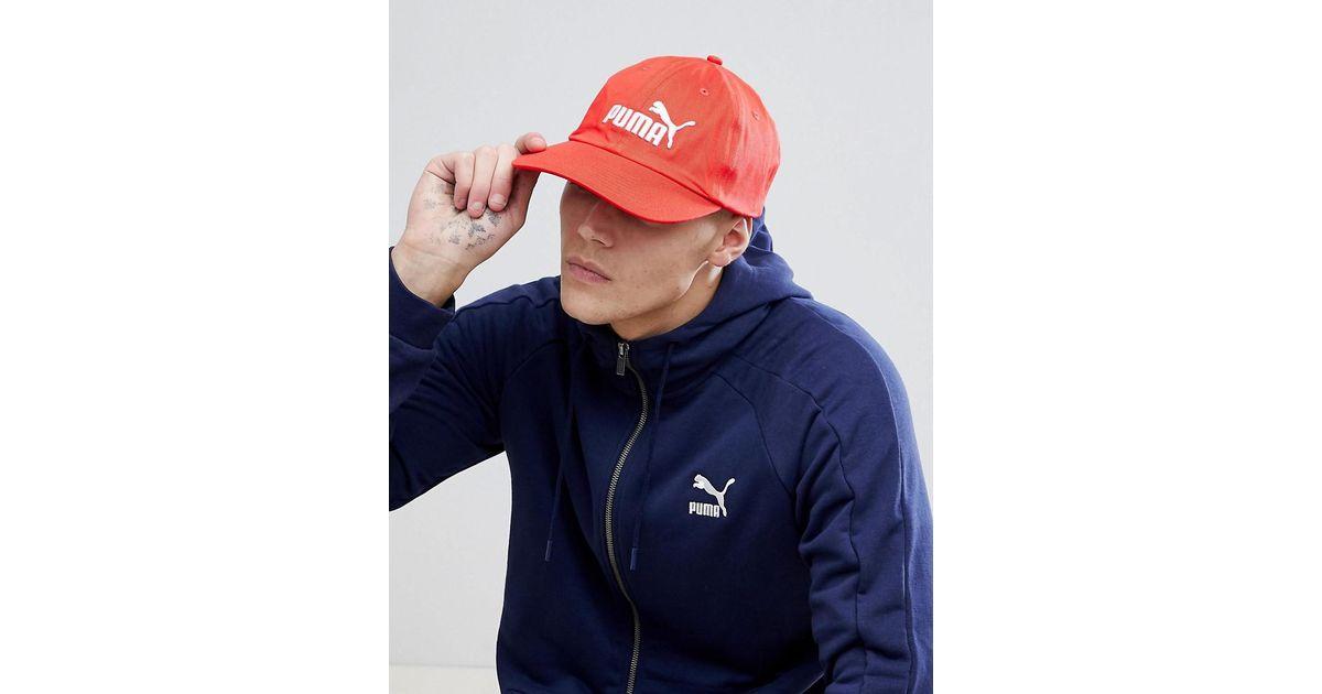 a8e3c287351 PUMA Essentials Cap In Red 05291957 in Red for Men - Lyst