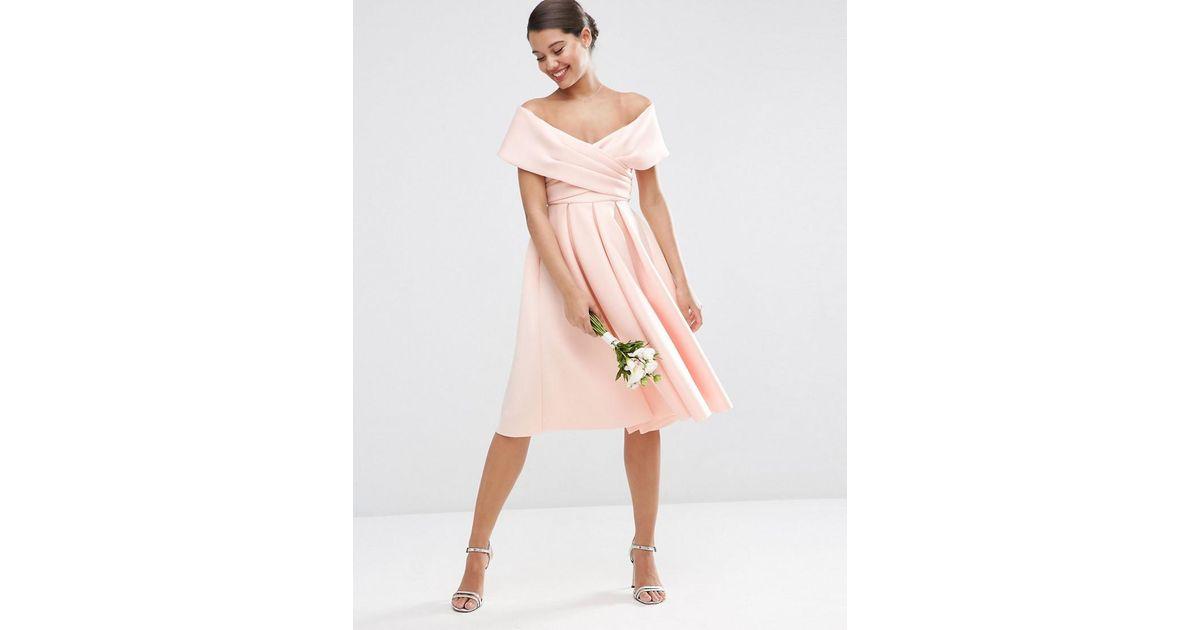 c6ecdc88244c ASOS Wedding Scuba Off The Shoulder Midi Prom Dress in Pink - Lyst