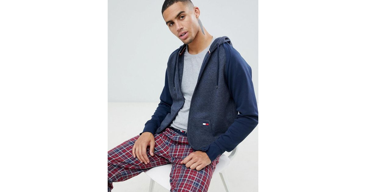 fd47208c2e1 Lyst - Tommy Hilfiger Sweat Zip Thru Hoodie With Contrast Panels In Navy And  Grey in Blue for Men