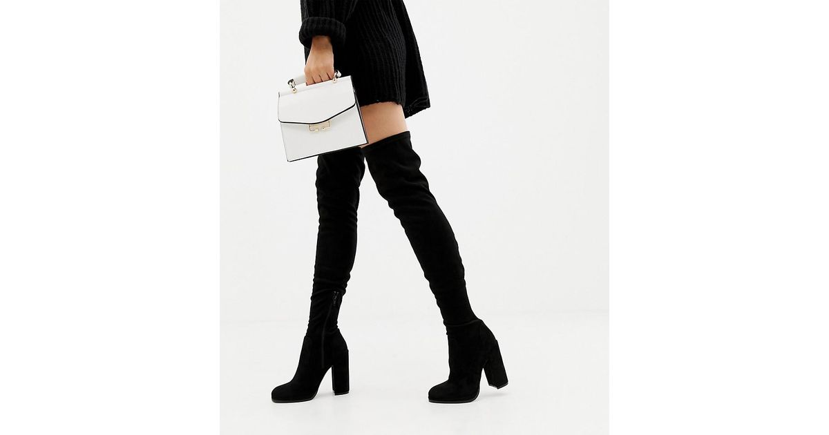 419f25db434 ASOS Asos Design Wide Fit Tall Kassidy Heeled Over The Knee Boots in Black  - Lyst