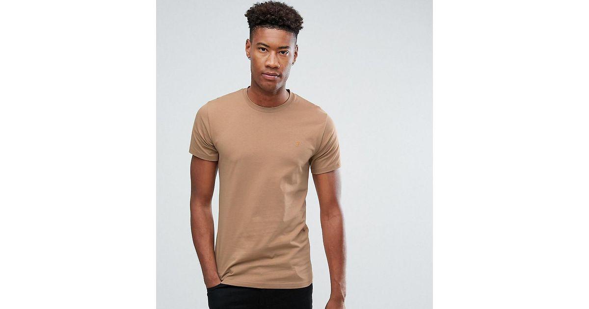 Lyst Farah Tall Farris Slim Fit T Shirt In Brown In