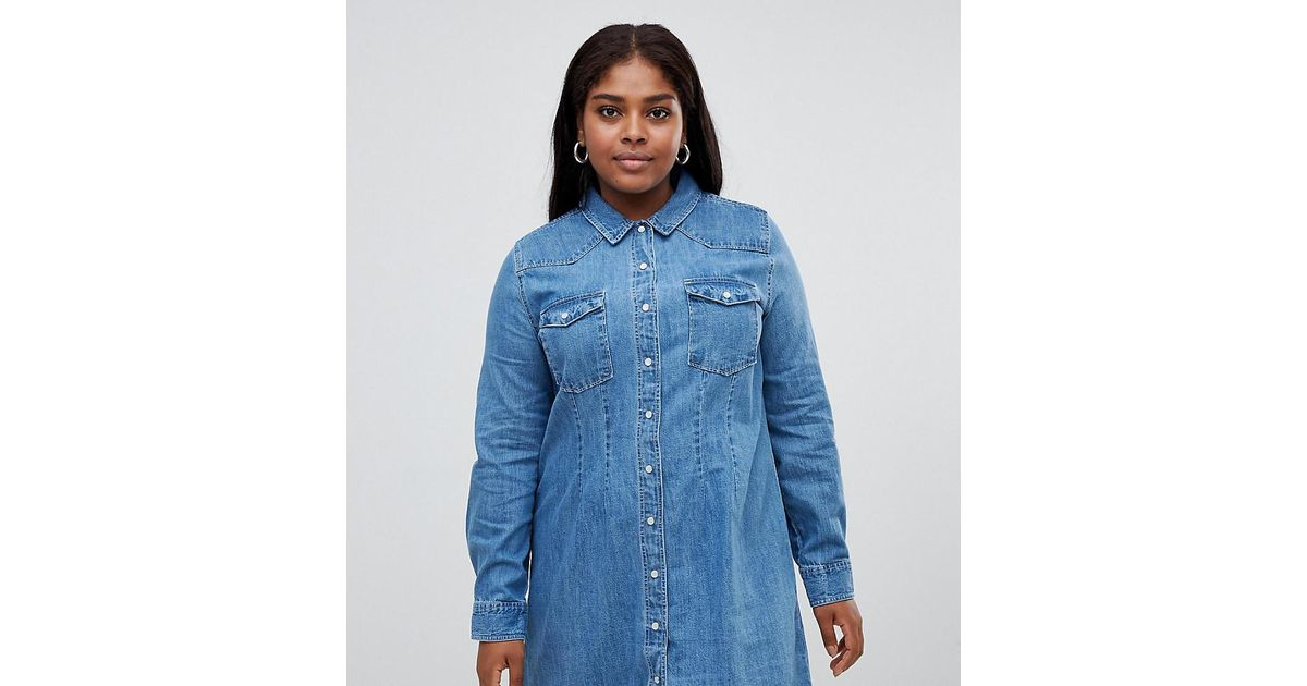 0684ca6ee69 Lyst - ASOS Asos Design Curve Denim Fitted Western Shirt Dress With Seam  Detail in Blue