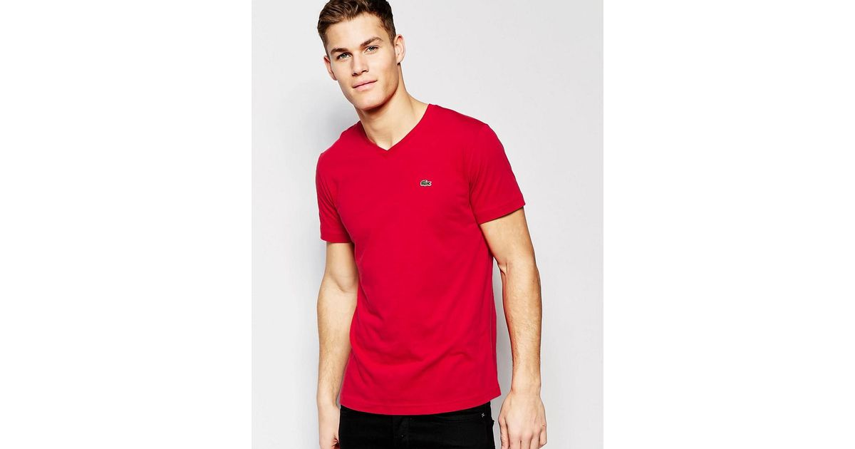 98c0e9659b01 Lacoste T-shirt With Croc Logo In V Neck Red Regular Fit in Red for Men -  Lyst