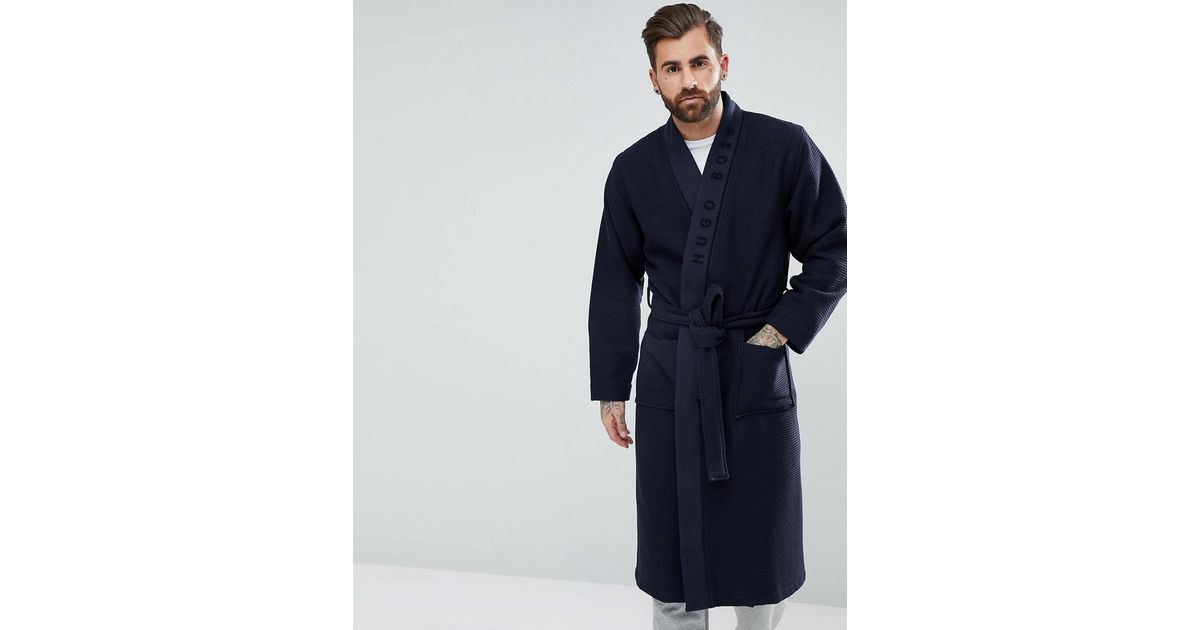 Boss By Hugo Dressing Gown In Waffle in Blue for Men - Lyst