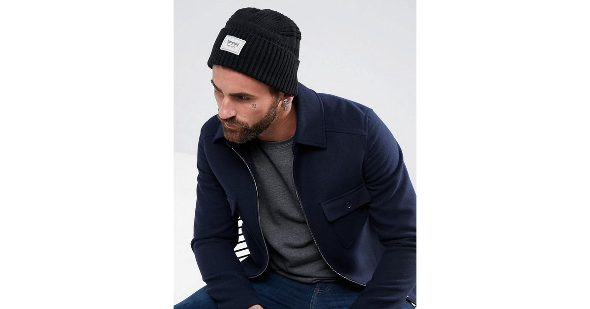 fda70ba315b Lyst - Timberland Gulf Beach Ribbed Beanie Label Logo In Black in Black for  Men
