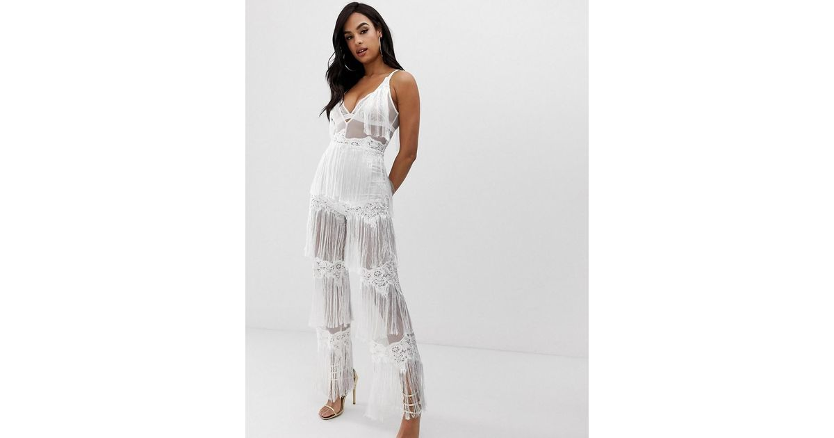 eeda5659924 Lioness Sleeveless Allover Lace Jumpsuit With Tassel Trims In White in  White - Lyst